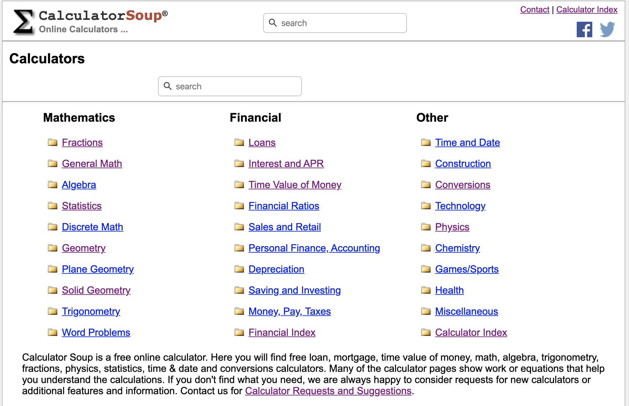 Calculator Soup Online Calculators