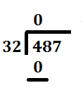 step 2 long division 487 divided by 32