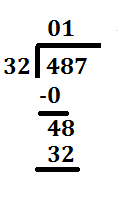 step 1 long division 487 divided by 32