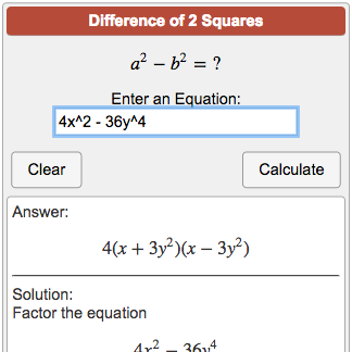 Difference of Two Squares Calculator