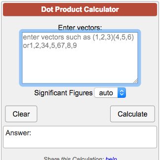 Dot Product Calculator