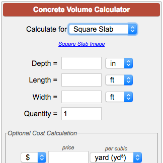 Concrete calculator for Square foot building cost estimates