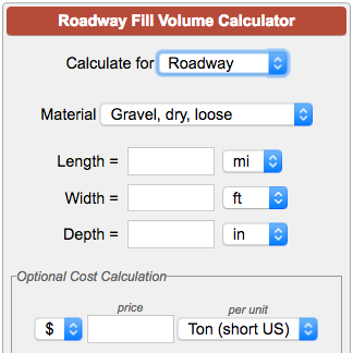 Roadway Fill Volume Calculator