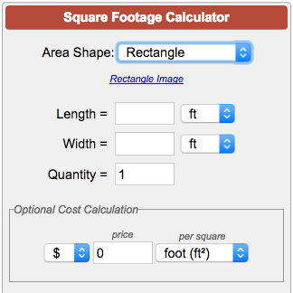 Square footage calculator for Find sq footage