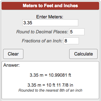 Meters To Feet Conversion M To Ft