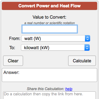 Power and Heat Flow Rate Conversion Calculator