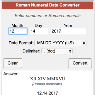 what is the correct way to write a date in roman numerals