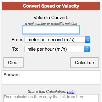 Speed Conversion Calculator