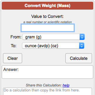 Weight M Conversion Calculator