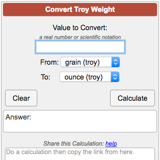 Troy Weight Conversion Calculator