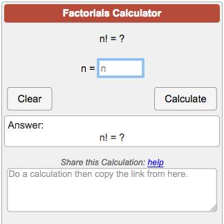 Factorial Calculator n!