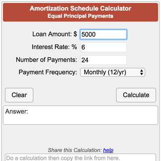 amortization schedule calculator equal principal payments