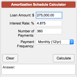 amoritization calculation