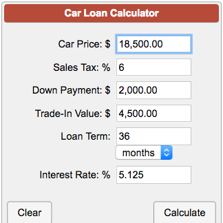 Down Payment Calculator >> Car Loan Payment Calculator