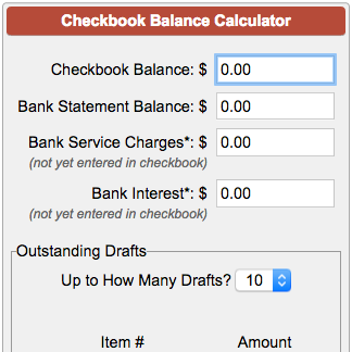 checkbook balance calculator