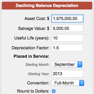 declining balance depreciation calculator