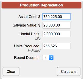 Useful Life Calculation >> Units of Production Depreciation Calculator