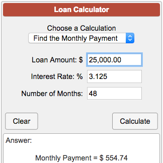 Monthly Payment Calculator >> Loan Calculator