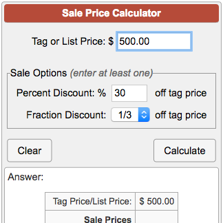 sale price calculator