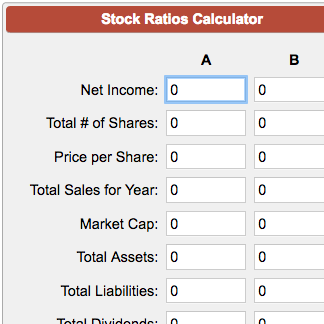 Stock Ratios Calculator