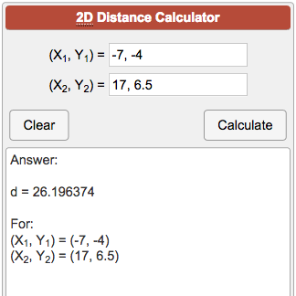 2D Distance Calculator