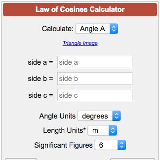 Law Of Cosines Calculator