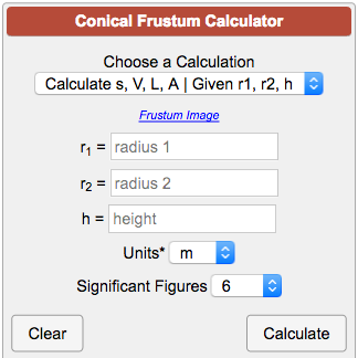 Conical Frustum Calculator