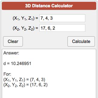 3D Distance Calculator
