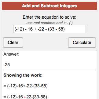 Adding and Subtracting Integers Calculator