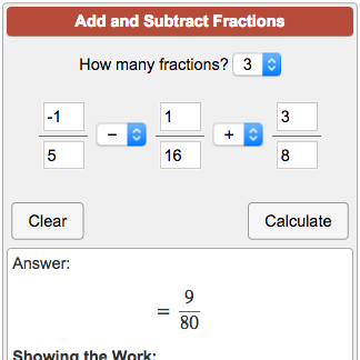 Fractions calculator & problem solver.