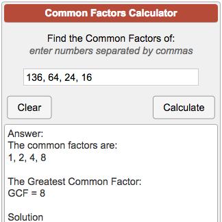Common Factors Calculator