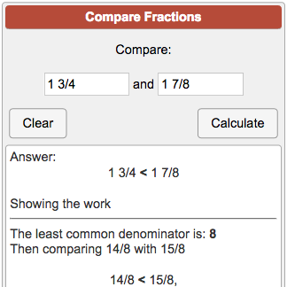 Comparing Fractions Calculator on fraction chart up to 20, improper fraction calculator, ordering decimals calculator,