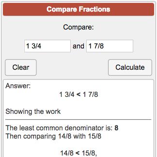 Comparing fractions calculator calculator soup