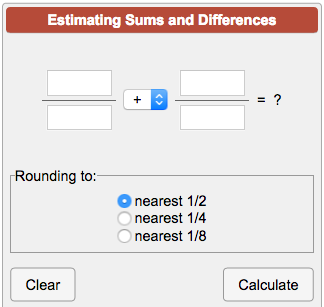 Estimating Sums and Differences of Fractions Calculator