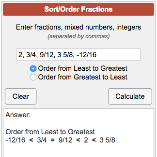 ordering fractions calculator