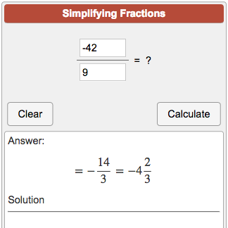 Online calculator that converts decimals to fractions