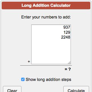Long Addition Calculator