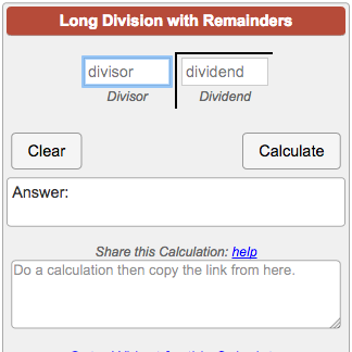 long division calculator with remainders