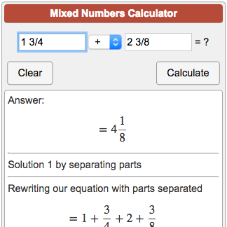 Mixed Numbers Calculator