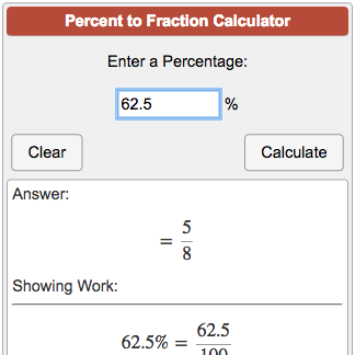 Percent To Fraction Calculator