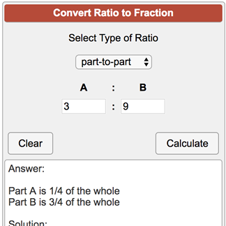 simplest form calculator ratio  Ratio to Fraction Calculator