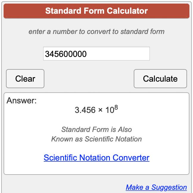 standard form solver Standard Form Calculator