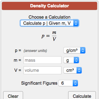Density Calculator p = m/V