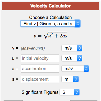 Velocity Calculator V2 U2 2as