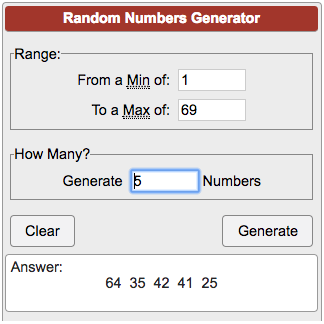 number generator 1 through 69