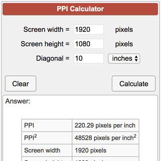 Pixels Per Inch PPI Calculator