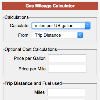 Calculators Tools Gas Mileage Calculator Png