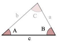 Triangle Diagram with Angles A, B and C and sides opposite those angles a, b and c respectively